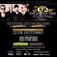 Com dois shows esgotados, o #U2 anunciou o terceiro e último show em São Paulo. A pré venda para assinantes u2.com começa amanhã. #U2 #Bono #TheEdge #AdamClayton #LarryMullenJr #TheJoshuaTreeTour2017 #TJT30 #U2noBrasil