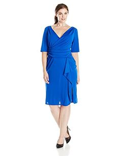 b1060bb3e21 Adrianna Papell Women s Plus-Size Sleeve Drape Front Dress with Side Zip at Amazon  Women s Clothing store
