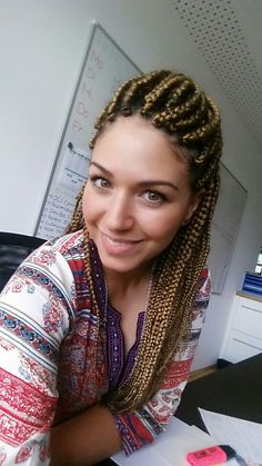 White girl with box braids #boxbraids #x-pression27