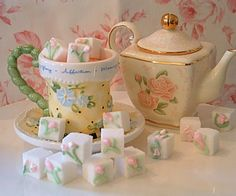 to make royal icicng sugar cubes _ Royal Icing Sugar Cubes Cafe Rico, Royal Icing Sugar, Afternoon Tea Parties, Sugar Cubes, Tea Sandwiches, My Tea, Tea Recipes, High Tea, Tea Set