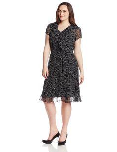 MSK Women's Plus-Size Short Sleeve Ruffle Shirt Dress, Black/White, 18W