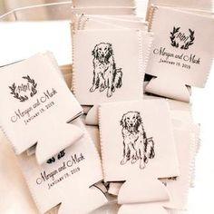 Pet Drawing Wedding Dog Lover Wedding Neoprene Personalized | Etsy Wedding Koozies, Custom Wedding Favours, Personalized Wedding Favors, Wedding Favors For Guests, Monogram Wedding, Wedding Guest Gifts, Modern Wedding Favors, Useful Wedding Favors, Wedding Souvenir