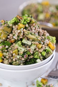 Cold buckwheat groats salad with broccoli, bell peppers, fresh dill, chayotte, olives and walnuts. Super healthy, super tasty!