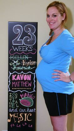 23 weeks pregnancy chalkboard Baby Bump Chalkboard, Weekly Pregnancy Chalkboard, Pregnancy Pictures, Maternity Pictures, Baby Pictures, Baby Week By Week, Baby Weeks, 4 Kids, Children