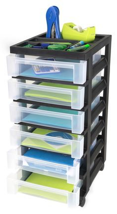 IRIS 6 Drawer Cart With Organizer Top And Casters, Black 6 Shallow Drawers.  Built In Drawer Stops. Includes 4 Free Wheeling Casters. Great For Use U2026