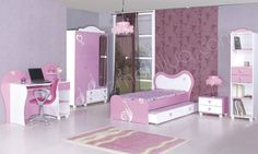Purple Bedroom Walls, Pink Bedroom Decor, Pink Bedrooms, Small Room Bedroom, Bedroom For Girls Kids, Kids Bedroom Designs, Kids Single Beds, Pastel Living Room, Bedroom False Ceiling Design