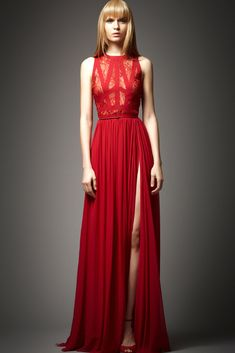 Movie Themed Destination Weddings: Casino Royale - Jaw dropping, red, floor length, bridesmaid gown by Elie Saab
