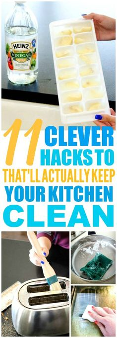 These 11 kitchen cleaning hacks and tips are THE BEST! I'm so glad I found these GREAT tips! Such great life hacks for keeping things clean! Definitely pinning! #householdcleaningtips