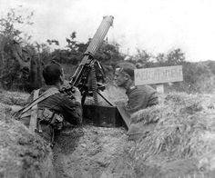 Vickers gun set up for anti-aircraft purposes during the First World War.