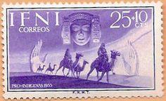 Sello Ifni de 25+10 céntimos, Pro Infancia, 1955 - Portal Fuenterrebollo