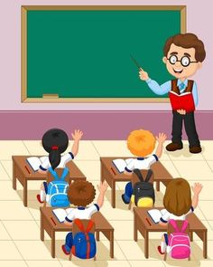 Cartoon Little Kid A Study In The Classroom Royalty Free Cliparts, Vectors, And Stock Illustration. Student Cartoon, Teacher Cartoon, School Cartoon, Cartoon Kids, Classroom Background, Kids Background, Cartoon Background, Teaching Kids, Kids Learning