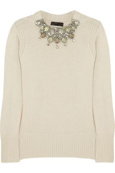 Burberry Prorsum|Crystal-embellished cashmere sweater|NET-A-PORTER.COM