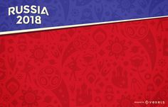 Russia 2018 FIFA Football World Cup design for a background featuring illustrations and symbols in tones of red. Russia 2018 logo and elements can only be used