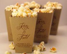 Mini Popcorn Box - Wedding Favor - Printed Metallic Paper