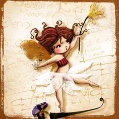fée funambule Laura Lee, Dragons, Illustrations, Colored Pencils, Chibi, Cute Pictures, Fairy Tales, Disney Characters, Fictional Characters