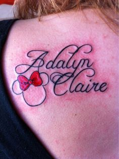 minnie mouse tattoos | My daughter's name with Minnie Mouse; Butcha at Darklight Tattoo, AR ...