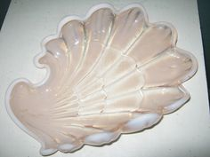 Pink And White Shell Shaped Dish With White Trim. Scalloped Edges, Vintage Glass by junkblossoms2 on Etsy