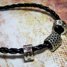 Unisex Black Leather Plaited Bracelet with Silver by Kaboochie, $5.00