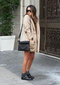 Sincerely Jules - Camel Coat + Saint Laurent Boots