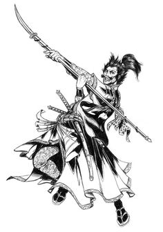 Japanese Samurai Drawings | Samurai warrior II by Pifalo