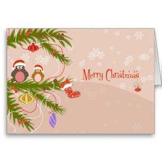 Cute Bird Couple Merry Christmas Greeting Card