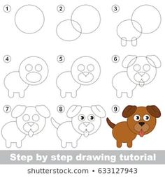 Kid game to develop drawing skill with easy gaming level for preschool kids, drawing educational tutorial for dog puppy - vector Drawing Lessons For Kids, Art Drawings For Kids, Drawing For Beginners, Drawing Skills, Doodle Drawings, Easy Drawings, Art Lessons, Games For Kids, Art For Kids