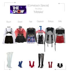 """""""Lunar (루나) [Comeback Special] 'Mistake' The Show"""" by lunar-official ❤ liked on Polyvore featuring Paskal, SemSem, Anouki, River Island, Moschino, Vetements, New Look, Christopher Kane, Hilfiger Collection and Diane Von Furstenberg"""