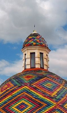 Alghero, Sardinia - San Michele, Italy. The roof tiles look like the Crocodile Stitch in crochet.