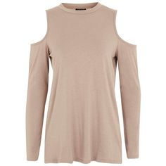 Women's Topshop Cold Shoulder Tee ($28) ❤ liked on Polyvore featuring tops, t-shirts, cut-out shoulder tops, draped tops, cold shoulder t shirt, cut out shoulder top and brown t shirt