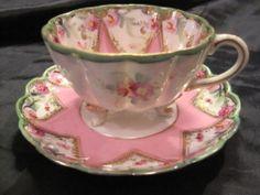 Vintage China Tea Cup with 3 Legs and Saucer Pink Star with Floral Design | eBay