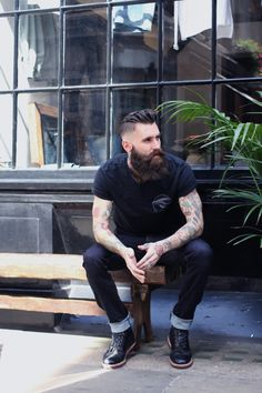 fhjeans: We had the Bearded Beast Ricki Hall pop by the other day wearing full FH jeans. No.8 Newburgh street W1 London