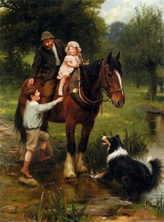 """""""A Helping Hand"""" by English artist - Arthur John Elsley - Oil on canvas, x 71 cm. Clydesdale, Collie, Manchester City Art Gallery, Victoria Art, Walker Art, English Artists, Royal College Of Art, Dogs And Kids, Equine Art"""
