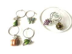 Harvest Themed Set of 6 Silver Plated Wire Wine by dangleandjangle
