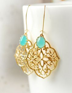 Bridesmaid Gifts SHIPS TOMORROW Chandelier Dangle Earrings Mint Turquoise Jewelry Bridesmaid Gift Set Limonbijoux