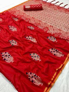 Style Array Present Beautiful Red Color Pure Silk Branded Saree. Buy This Attractive Look Beautiful Red Color Pure Silk Branded Saree Bridal Silk Saree, Soft Silk Sarees, Cotton Saree, Chiffon Saree, Red Saree, Saree Dress, Sari Blouse, Banarasi Sarees, Lehenga