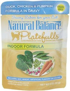 Natural Balance Platefulls Indoor Duck Chicken  Pumpkin Formula in Gravy Cat Food  24x3 oz *** You can get additional details at the image link.