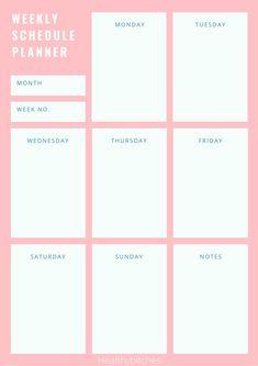 Weekly Schedule Planner, Week Schedule, To Do Planner, Weekly Planner Template, Daily Planner Pages, School Planner, Daily Planner Printable, Study Planner, Free Printable