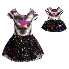 Colorful Star Dance Set with Matching Outfit for 18 inch Play Doll. Your little one will be a shining star in this colorful set.