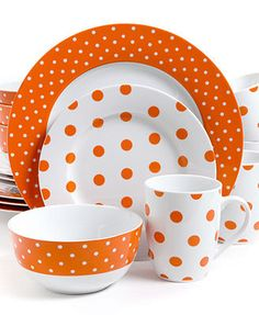 Isaac Mizrahi Polka Dot Orange 16-Piece Set