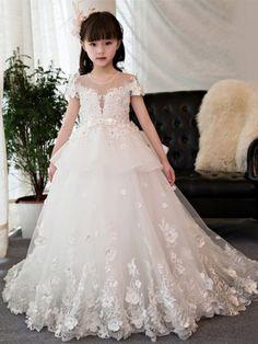 File c3992668ac original Princess Flower Girl Dresses, Cheap Flower Girl Dresses, Tulle Flower Girl, Little Girl Dresses, Ribbon Flower, Flower Girls, Girls Dresses Online, Girls Pageant Dresses, Gowns For Girls