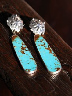 Long Concho Turquoise & Sterling Silver earrings
