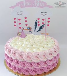 Cupcakes decoration anniversary baby shower 62 Ideas for 2019 Baby Cakes, Girl Cakes, Sweet Cakes, Wedding Shower Cakes, Wedding Cakes With Cupcakes, Cupcake Cakes, Torta Baby Shower, Chocolate Cake Designs, Barbie Birthday Cake