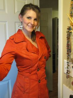 How to dye a coat--this pea coat was transformed from black to red.  Pretty.
