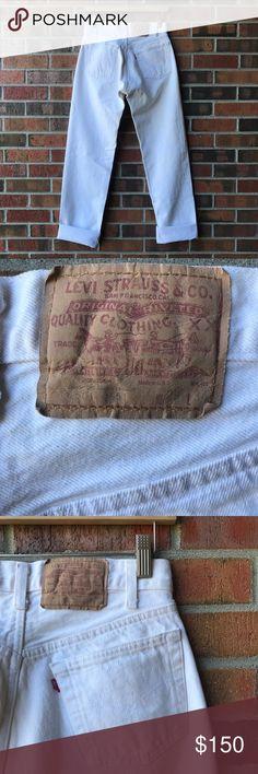 "vintage Levis 501 xx white denim • excellent vintage condition • 501 xx • button fly • waist 13.75"", just shy of 14"" • rise 11 "" • inseam 32"" • can fit a 25/26 • Levi's Jeans"