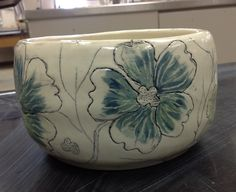 Thrown porcelain bowl, Mishima & scraffito.
