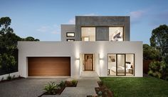 Every Carter Grange Façade speaks for itself. No matter where your Carter Grange home is located, it is going to stand out from the rest on the street. Double House, Double Storey House, Modern House Facades, Modern House Plans, Minimalist House Design, Modern House Design, 2 Story House Design, Architect House, Facade House