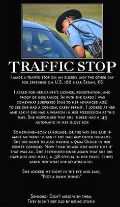 Traffic Stop - Senior Citizen's License to Carry. Not loving the 'right to bear arms' crap but this is funny ... :o)