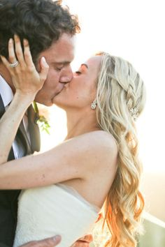 The 20 most romantic wedding photos of 2013 - Wedding Party - love her hair (curls and loose braid pinned back)