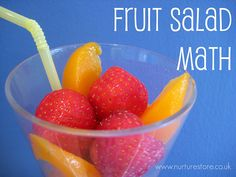 Do you ever use recipes to teach math? I'm always looking for different ways to 'add' some fun into our learning. Ever tried this fruit salad math idea?