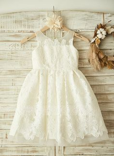 [US$ 63.99] A-Line/Princess Knee-length Flower Girl Dress - Lace Sleeveless Scoop Neck With Appliques